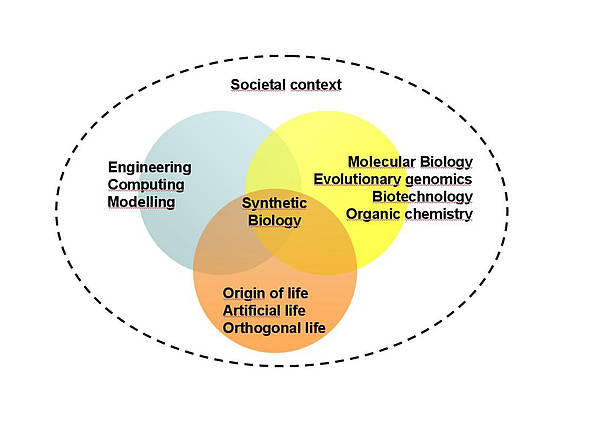 The highly interdisciplinary field of synthetic biology
